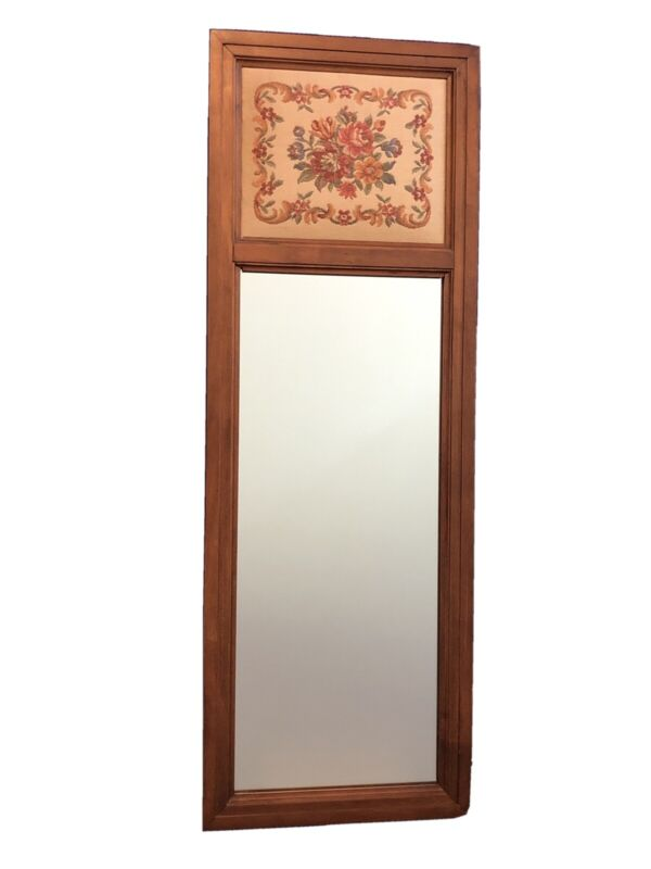 Vintage Tell City Chair Co.Solid Hard Rock Maple Andover Tapestry Wall Mirror