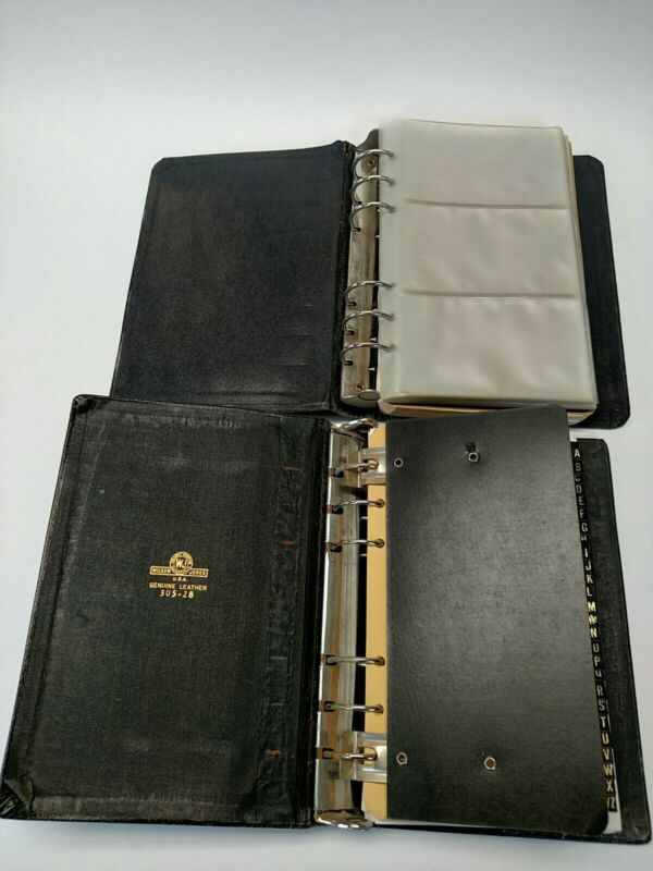 2 Vintage Phone/Address Binders Black Leather 5 x 7 Boorum & Pease, Wilson Jones