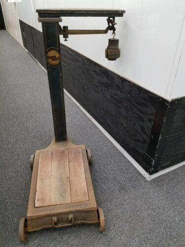 @NYC NY/Antique/Vtg FAIRBANKS STANDARD Dry Goods Freight PLATFORM SCALE +WEIGHTS