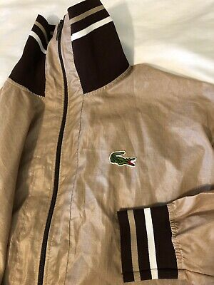 True Vintage Chemise Lacoste Brown  Bomber Windbreaker Jacket Mens L XL? France
