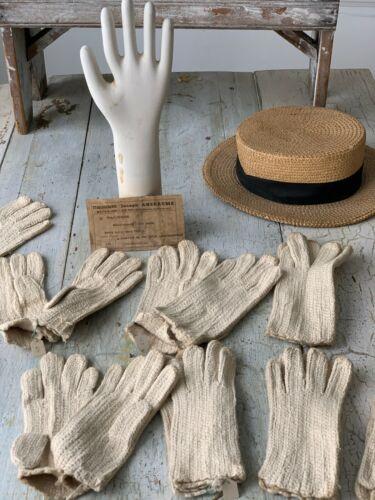Antique French work gardening crochet wool + cotton  gloves woman