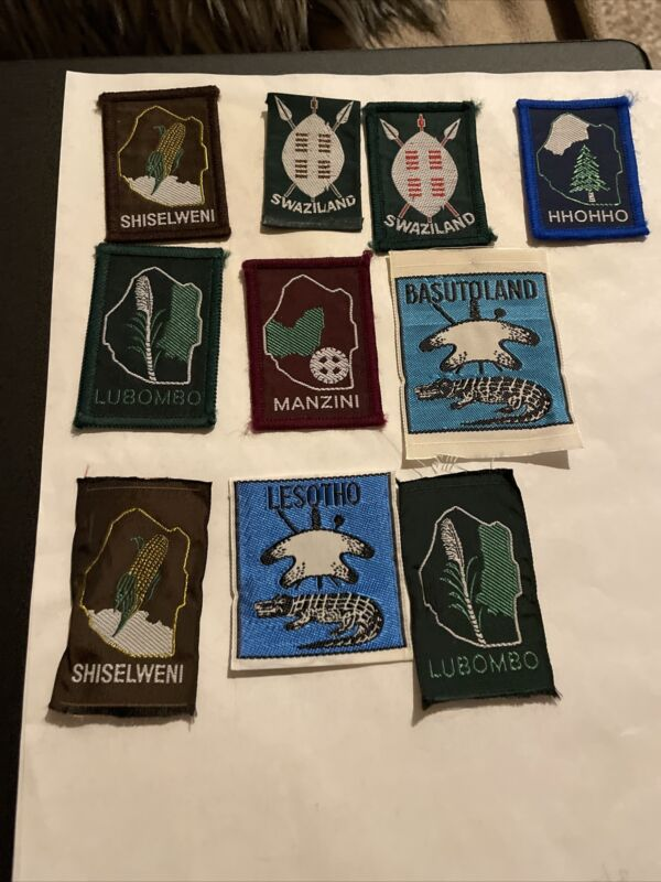 South Africa lot of 10 Boy Scout patches Including Swaziland, Hhohho, & Manzini