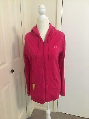 Under Armour Women's Full Zip Hoodie Sweatshirt Jacket Medium Pink Semi-Fitted