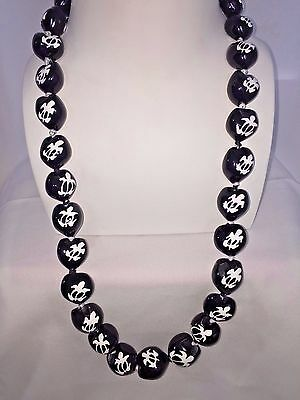 Hawaii Wedding Kukui Nut Lei Necklace ~ BLACK W/ WHITE HONU TURTLE ( QTY 2 )