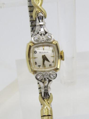 14k Yellow White Gold Round .08 CTW Diamond Ladies Bracelet Wristwatch STOPS