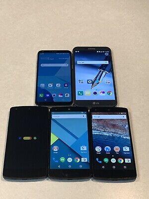Lot of 5 LG GSM Unlocked Smartphones (mixed models) Nexus 5 Q6 Stylo 3 Plus