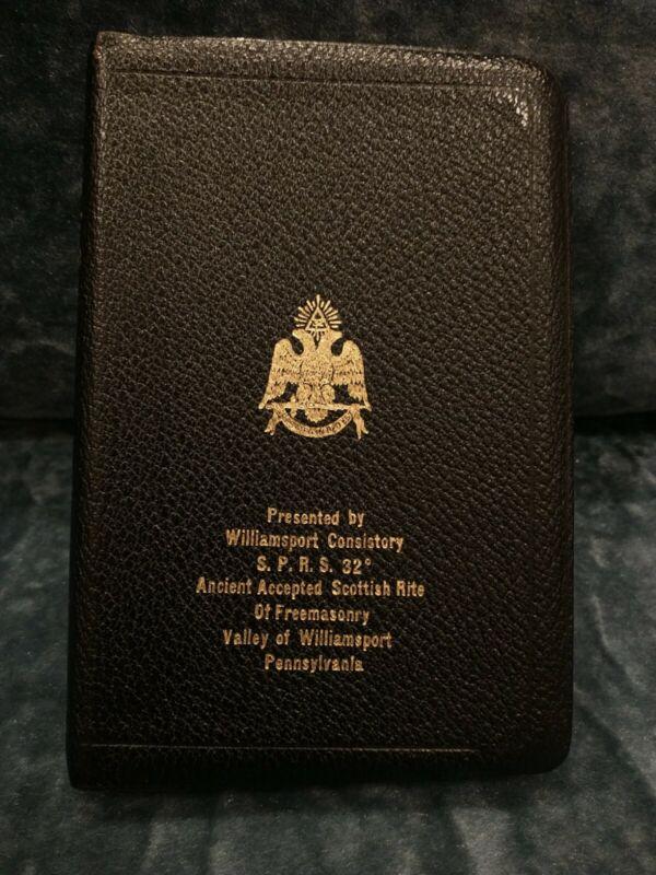 1957 Masonic Mason Freemason Holan Leather Bible Scottish Rite — Williamsport