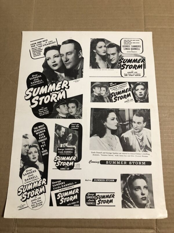 SUMMER STORM - Vintage 1946 Press Kit Ad Advertising Supplement Page