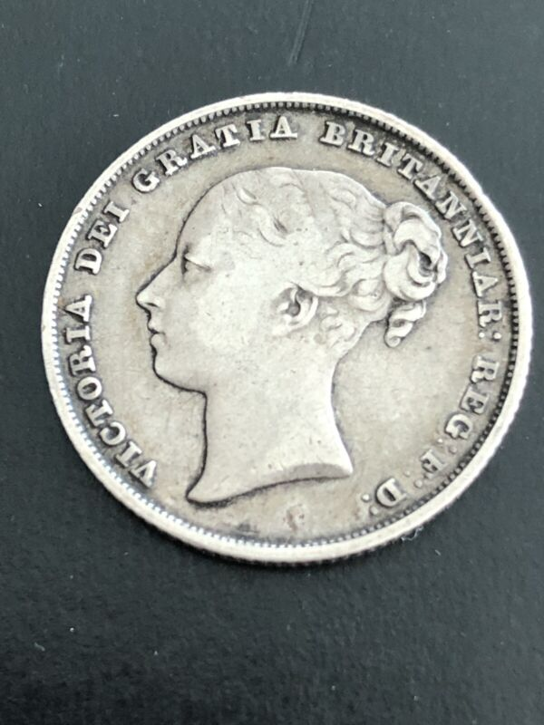 """1841 Great Britain Silver Shilling """"VERY RARE"""" Only 875,000 Minted"""