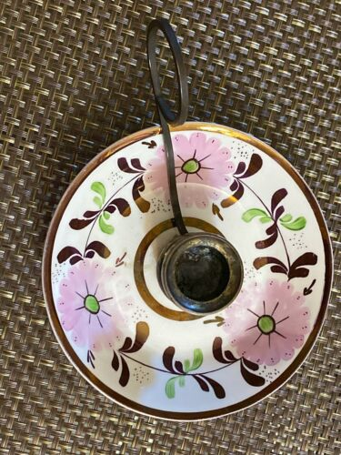 Very Rare Vintage Old Castle Copper Lusterware Chamber Candleholder
