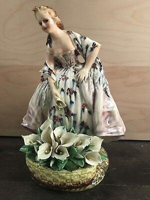 "C. Carlo Mollica For Capodimonte Italy Antique porcelain Lady Figurine Large 10"""