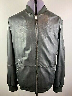 HUGO BOSS JEMMAY BLACK PERFORATED LEATHER BOMBER JACKET IT54 XL RRP £460 NWOT