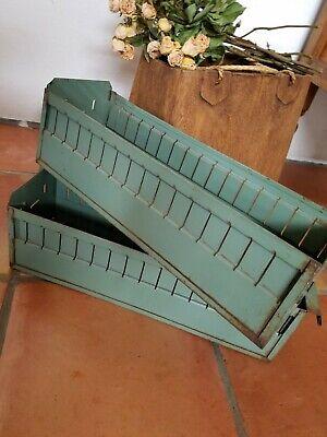 Salvaged Industrial Green Metal Drawer Tool Bin File Cabinet Storage Decor Pair