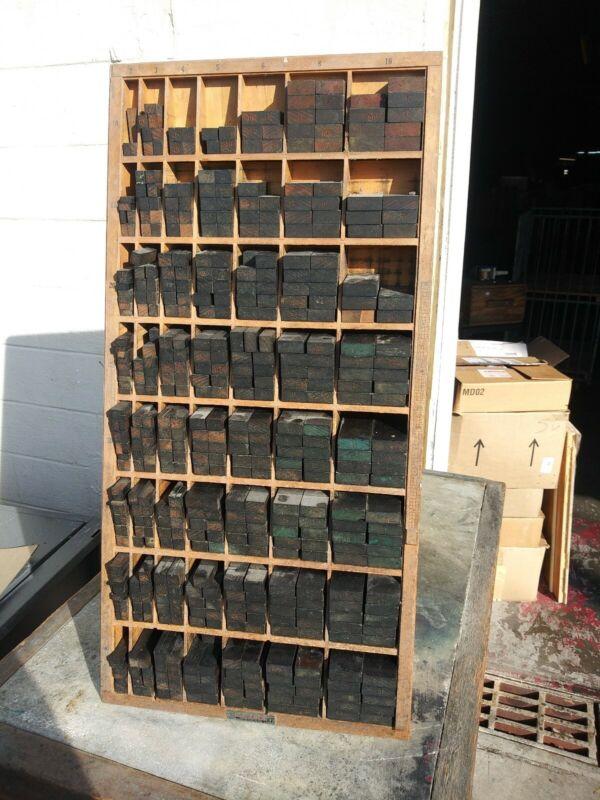 Hamilton Furniture Cabinet and numbered Letterpress Lockup Wood Blocks