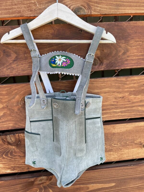 Kids Green German Lederhosen Size 5/6