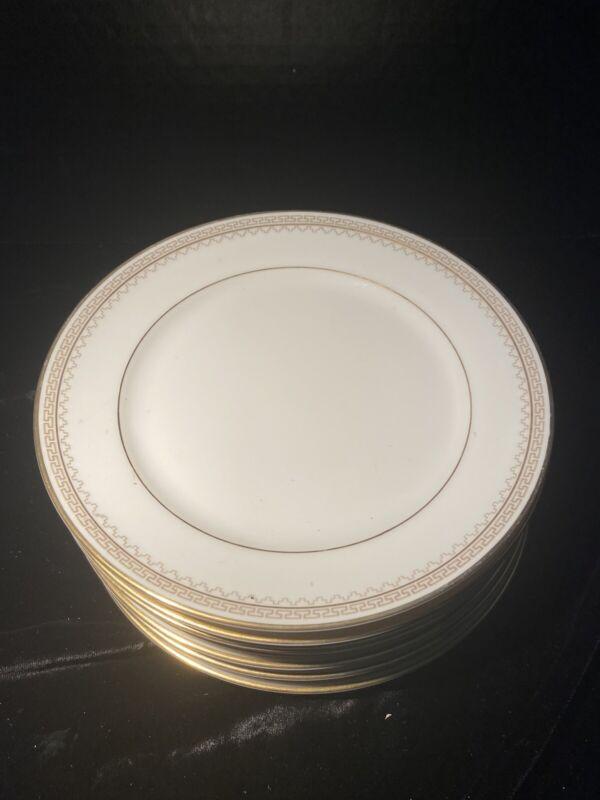 "1930s Heinrich &Co Selb Bavaria 7, 61/2"" Dessert Plates Gold and Greek Key Trim"
