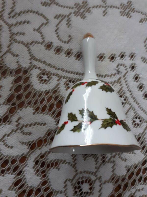 Vintage Lefton Christmas Dinner Bell White Porcelain Holly Berries Design Japan