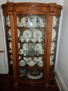 Antique Oak Curio China Cabinet U2013 Curved Glass, Mirrored Back