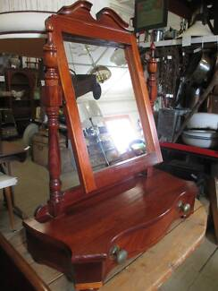 Antique Style Stained Timber Dressing Table Dresser Mirror drawer Queenstown Port Adelaide Area Preview