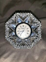 Waterford Crystal - Lismore - Diamond Shaped Desk Clock Paperweight