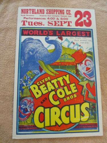 VINTAGE 1975 Lexington Kentucky Clyde Beatty & Cole Bros. Circus Poster *