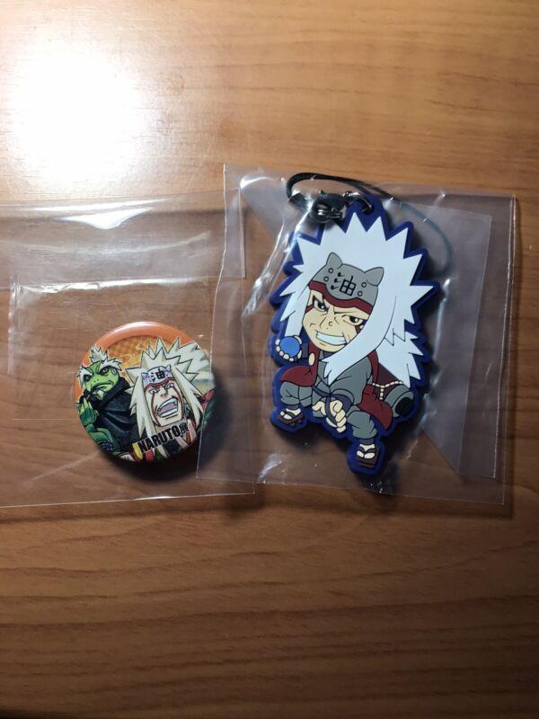 Naruto Shippuuden Jiraiya Rubber Strap Keychain Charm Bandai and Bonus Button