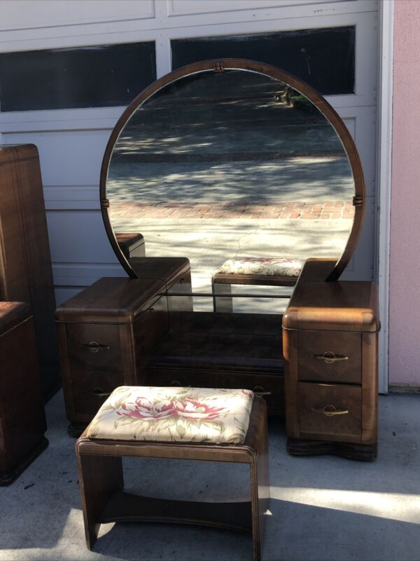 7 Piece Waterfall  Art Deco vanity Bedroom  set 1920's