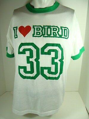 Vintage I Love Bird #33 Screen Stars T-Shirt  Larry Boston Celtics Large