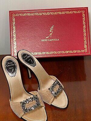 RENE CAOVILLA $1220 Size 8 Beige Black Satin Bejeweled Sandals Heels Orig Box