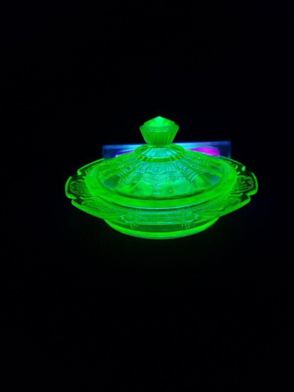 Glass Covered Butter Dish Uranium Green