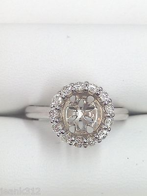 0.42ct Halo French Pave Diamond Semi-Mount Engagement Ring in 14K White Gold