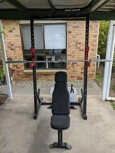 Half Rack Package (rack, bar, weights, bench)