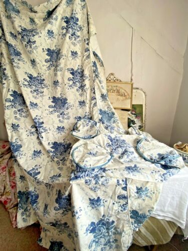 Vintage Floral Fabric, French Blue Toile Bed Set Single Cover Bolster Home Decor