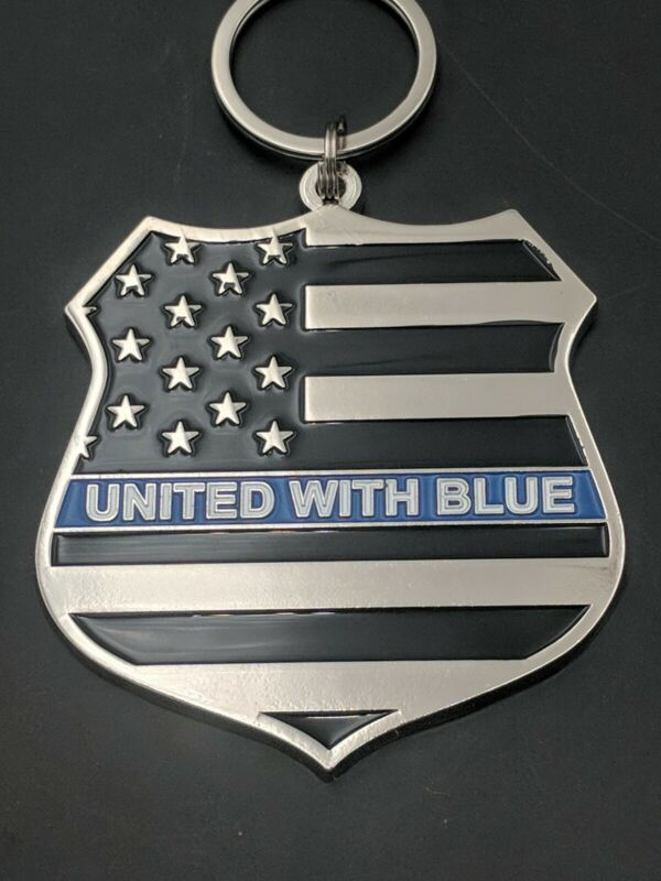 """""""Blue Lives Matter"""" Thin Blue Line """"United With Blue"""" Tribute Keychains(J11)"""