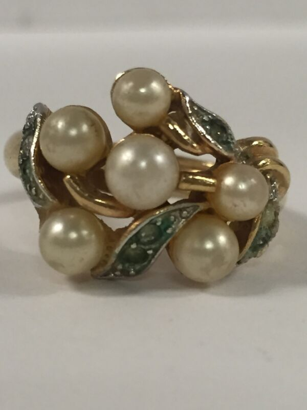 Vintage Gold-tone AVON Faux Pearl And Clear Rhinestone Adjustable Size Ring