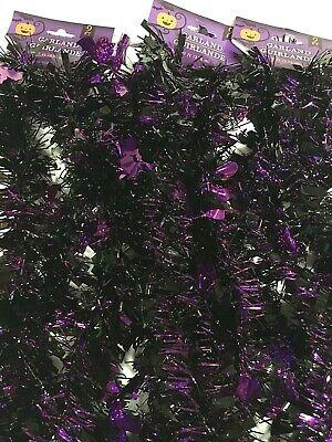3 x SPOOKY BATS Tinsel Garland 9' HALLOWEEN Holiday*USA SELLER*