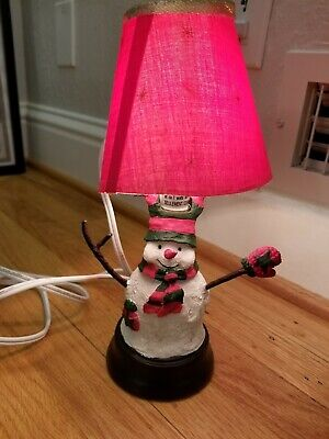 Vintage Red Lamp Snowman Christmas Xmas WORKING TESTED!
