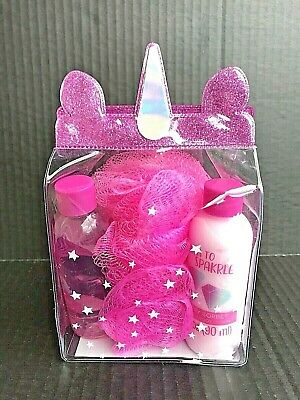 Unicorn Body Care Products 4 Piece Set - Shower Gel, Lotion, Puff, & Bag NEW -P3 Care Products Gel Body Lotion