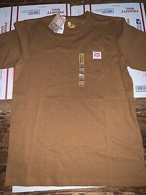 NWT Men's Carhartt HERITAGE K87 WORKWEAR POCKET T-SHIRT Brown Sz L Tall USA Made