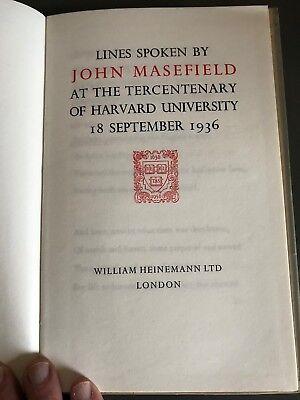 Lines Spoken by John Masefield. Harvard Univ. 1936. Signed Limited Edit. 71/150