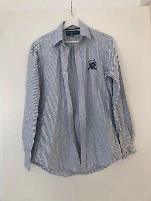 Mens Small Ralph Lauren Blue Stripe Custom Fit Shirt Fantastic Condition