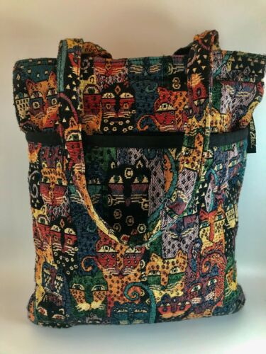 Laurel Burch Feline Cats Cotton Tapestry Shoulder Handbag