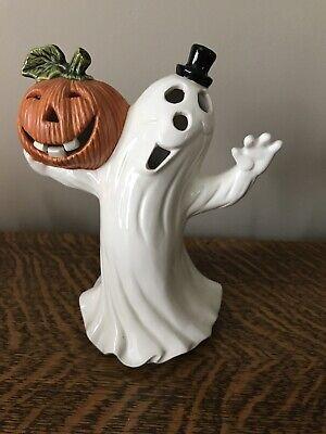 Ceramic Ghost With Black Top Hat & Jack O'Lantern Halloween Figurine