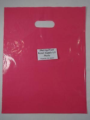 "200 Qty. 12"" x 15"" Pink Glossy Low Density Merchandise Bag Retail Shopping Bags"