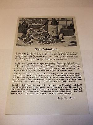alte Postkarte Ansichtskarte Liedpostkarte Karte AK PK Westfalenlied vor 1945