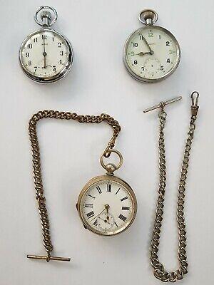 Joblot Vintage Pocket Watches, Albert chains - Smiths, Helvetia
