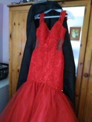 UK Long prom dress red fish tail