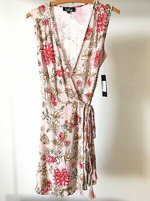 NWT Lulus Best In Bloom Blush Floral Print Wrap Dress Sleeveless Size