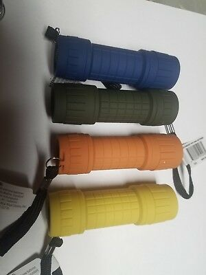 Ozark Trail 9 LED Mini Rubberized Flashlight w/3 AAA Batteries assorted colors, used for sale  Shipping to India