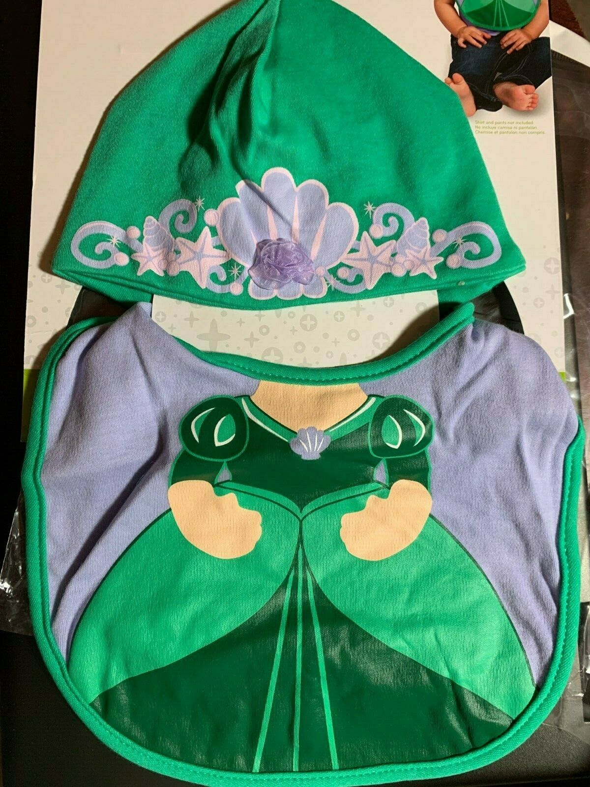 DISNEY BABY ARIEL BIB AND HAT SET SIZE 0-12 MONTHS BABY PRIN